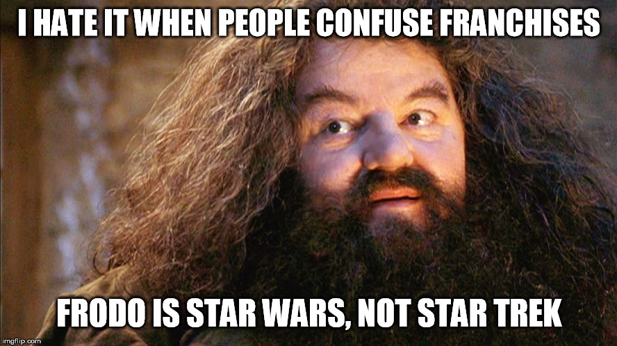 So annoying... | I HATE IT WHEN PEOPLE CONFUSE FRANCHISES FRODO IS STAR WARS, NOT STAR TREK | image tagged in memes,terminator | made w/ Imgflip meme maker