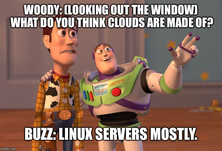 Cloud Talk | WOODY: (LOOKING OUT THE WINDOW) WHAT DO YOU THINK CLOUDS ARE MADE OF? BUZZ: LINUX SERVERS MOSTLY. | image tagged in memes,cloud,linux,servers | made w/ Imgflip meme maker