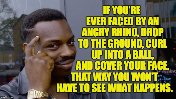 Roll Safe Think About It Meme | IF YOU'RE EVER FACED BY AN ANGRY RHINO, DROP TO THE GROUND, CURL UP INTO A BALL, AND COVER YOUR FACE. THAT WAY YOU WON'T HAVE TO SEE WHAT HA | image tagged in memes,roll safe think about it,i'll miss you,rhinos stream | made w/ Imgflip meme maker