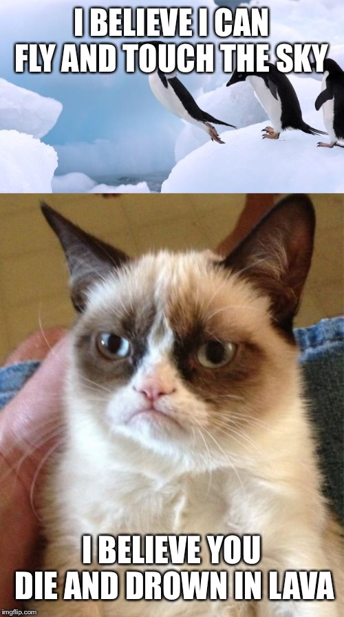 I BELIEVE I CAN FLY AND TOUCH THE SKY I BELIEVE YOU DIE AND DROWN IN LAVA | image tagged in memes,grumpy cat,flying penguin | made w/ Imgflip meme maker
