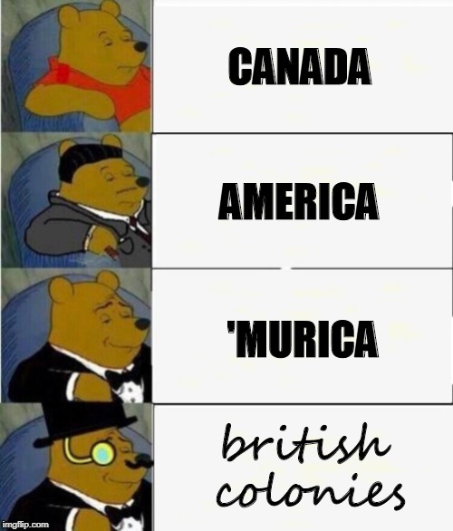 Tuxedo Winnie the Pooh 4 panel | CANADA AMERICA 'MURICA british colonies | image tagged in tuxedo winnie the pooh 4 panel | made w/ Imgflip meme maker