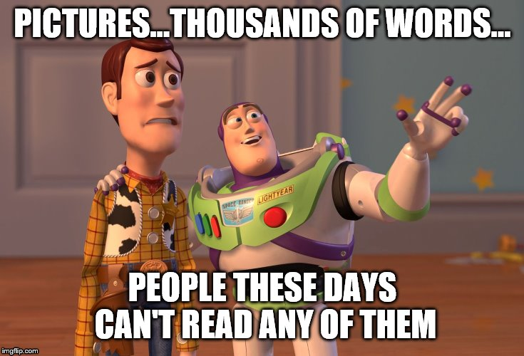 Pictures, Thousands of Words, Stupid People Everywhere | PICTURES...THOUSANDS OF WORDS... PEOPLE THESE DAYS CAN'T READ ANY OF THEM | image tagged in memes,x x everywhere,pictures,words,human stupidity | made w/ Imgflip meme maker