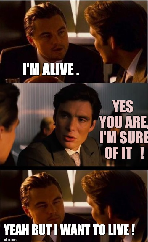 Inception Meme |  I'M ALIVE . YES  YOU ARE, I'M SURE OF IT   ! YEAH BUT I WANT TO LIVE ! | image tagged in memes,inception | made w/ Imgflip meme maker