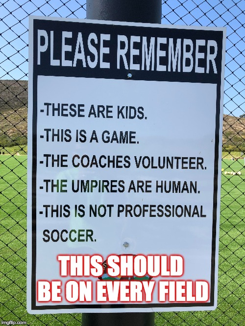 kids sports is supposed to be fun |  THIS SHOULD BE ON EVERY FIELD | image tagged in game,sportsmanship,have fun | made w/ Imgflip meme maker