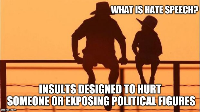 Cowboy wisdom, hate speech explained | WHAT IS HATE SPEECH? INSULTS DESIGNED TO HURT SOMEONE OR EXPOSING POLITICAL FIGURES | image tagged in cowboy father and son,cowboy wisdom,hate speech,exposed publically | made w/ Imgflip meme maker