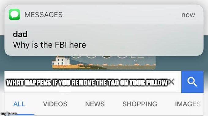 why is the FBI here? | WHAT HAPPENS IF YOU REMOVE THE TAG ON YOUR PILLOW | image tagged in why is the fbi here,memes,funny,pillow,under penalty of law this tag not to be removed | made w/ Imgflip meme maker