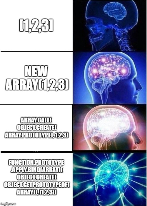 JS Arrays | [1,2,3] NEW ARRAY(1,2,3) ARRAY.CALL( OBJECT.CREATE( ARRAY.PROTOTYPE), 1,2,3) FUNCTION.PROTOTYPE .APPLY.BIND(ARRAY)( OBJECT.CREATE( OBJECT.GE | image tagged in memes,expanding brain,javascript,programming | made w/ Imgflip meme maker