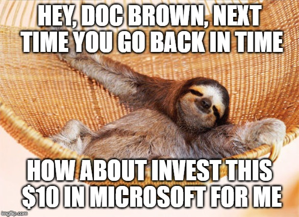 sloth hammock | HEY, DOC BROWN, NEXT TIME YOU GO BACK IN TIME HOW ABOUT INVEST THIS $10 IN MICROSOFT FOR ME | image tagged in sloth hammock | made w/ Imgflip meme maker