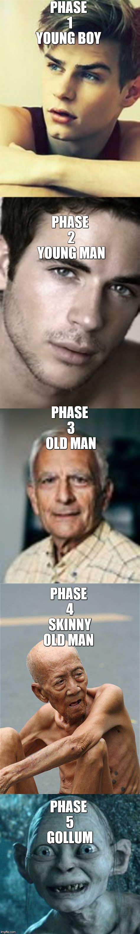 The 5 Stages of Life Then You Turn Into This | PHASE 1 YOUNG BOY PHASE 5 GOLLUM PHASE 2 YOUNG MAN PHASE 3 OLD MAN PHASE 4 SKINNY OLD MAN | image tagged in memes,gollum,before and after,a series of unfortunate events | made w/ Imgflip meme maker