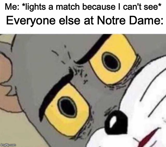 I'm literally going to hell for this. |  Everyone else at Notre Dame:; Me: *lights a match because I can't see* | image tagged in memes,funny,dank memes,unsettled tom,notre dame,dark humor | made w/ Imgflip meme maker