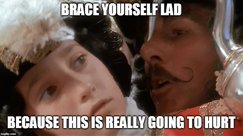 Hook Ear piercing | BRACE YOURSELF LAD BECAUSE THIS IS REALLY GOING TO HURT | image tagged in captain hook,piercings | made w/ Imgflip meme maker