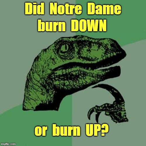 Subject of Hot Debate | Did  Notre  Dame burn  DOWN or  burn  UP? | image tagged in memes,philosoraptor,notre dame,rick75230 | made w/ Imgflip meme maker