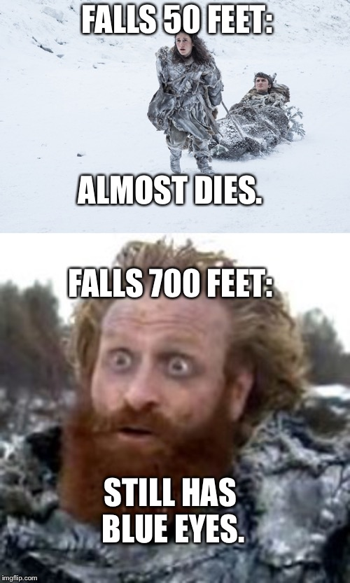 FALLS 50 FEET: FALLS 700 FEET: ALMOST DIES. STILL HAS BLUE EYES. | image tagged in tormund,meera reed carrying brandon stark | made w/ Imgflip meme maker