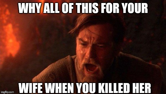 You Were The Chosen One (Star Wars) Meme | WHY ALL OF THIS FOR YOUR WIFE WHEN YOU KILLED HER | image tagged in memes,you were the chosen one star wars | made w/ Imgflip meme maker