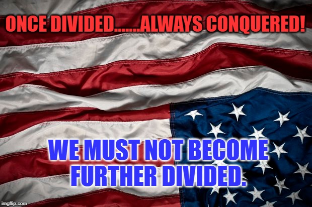 Once Divided, Always Conquered | ONCE DIVIDED.......ALWAYS CONQUERED! WE MUST NOT BECOME FURTHER DIVIDED. | image tagged in division | made w/ Imgflip meme maker