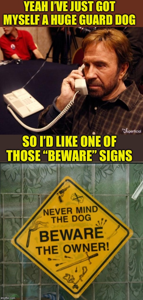 "When stupid signs actually have a valid use. Stupid Signs Week (April 17-23), A LordCheesus and DaBoiIsMeAvery event | YEAH I'VE JUST GOT MYSELF A HUGE GUARD DOG SO I'D LIKE ONE OF THOSE ""BEWARE"" SIGNS 