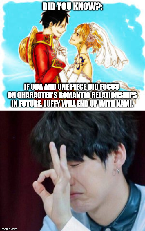 Nafy shippers-basically your ship has sailed -> https://www.quora.com/Who-will-end-up-with-Luffy-at-the-end-of-One-Piece-Boa-Han | DID YOU KNOW?: IF ODA AND ONE PIECE DID FOCUS ON CHARACTER'S ROMANTIC RELATIONSHIPS IN FUTURE, LUFFY WILL END UP WITH NAMI. | image tagged in one piece,anime,animeme,memes,funny,otaku | made w/ Imgflip meme maker