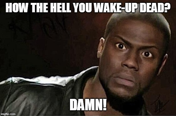 How the hell you wake-up dead? | HOW THE HELL YOU WAKE-UP DEAD? DAMN! | image tagged in memes,kevin hart | made w/ Imgflip meme maker