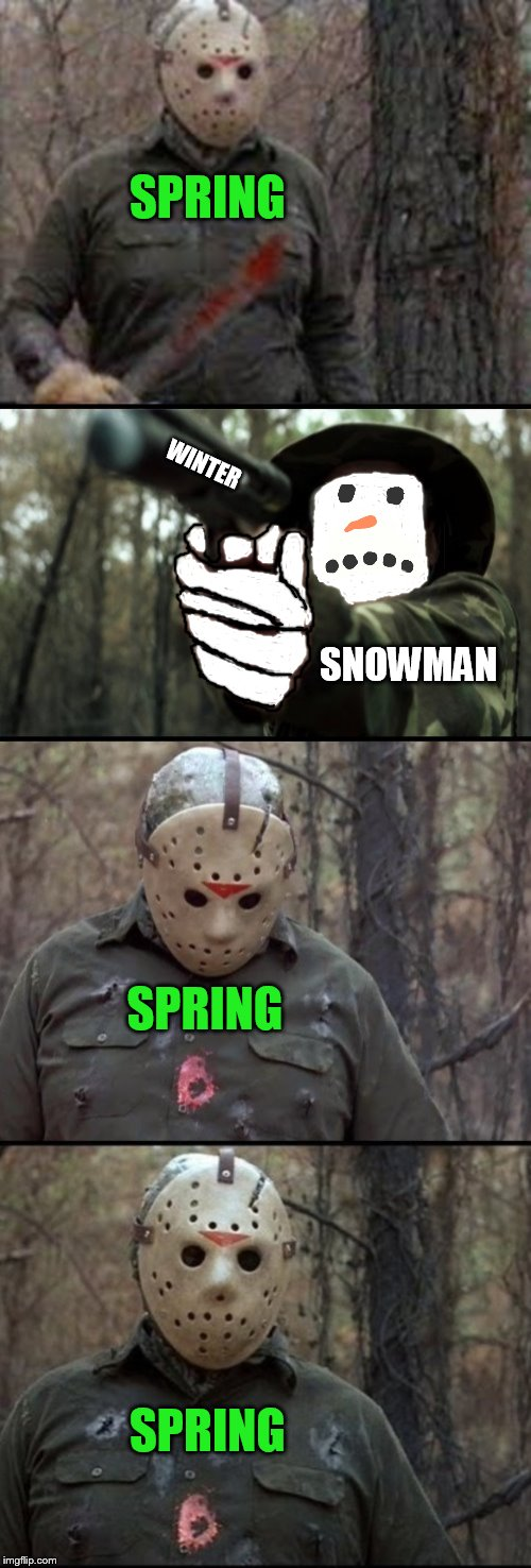 ArcMis idea on a Dashhopes template to a Craziness_all_the_way Repost Your Own Meme week! | SPRING WINTER SNOWMAN SPRING SPRING | image tagged in x vs y,dashhopes,craziness_all_the_way,arcmis,snowman winter spring,repost your own meme week | made w/ Imgflip meme maker