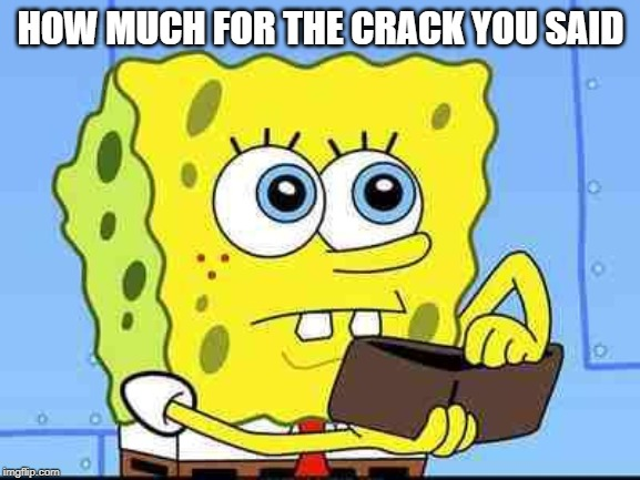 Spongebob wallet | HOW MUCH FOR THE CRACK YOU SAID | image tagged in spongebob wallet | made w/ Imgflip meme maker