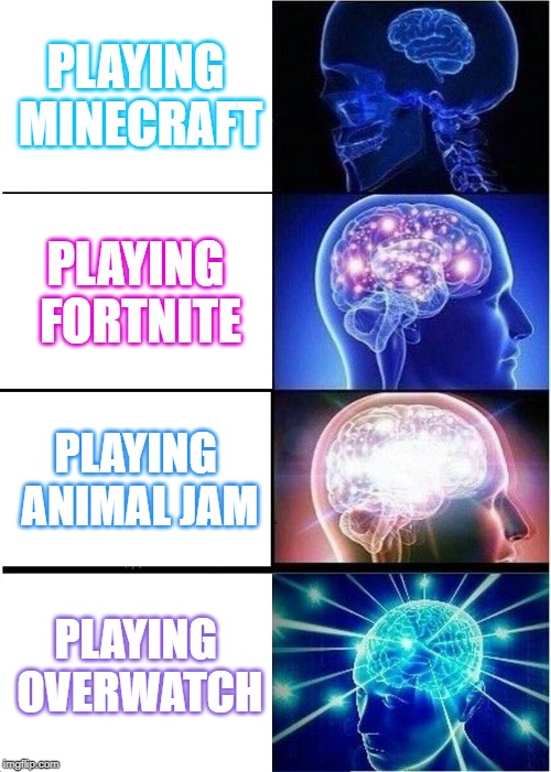 Expanding Brain | PLAYING MINECRAFT PLAYING FORTNITE PLAYING ANIMAL JAM PLAYING OVERWATCH | image tagged in memes,expanding brain | made w/ Imgflip meme maker