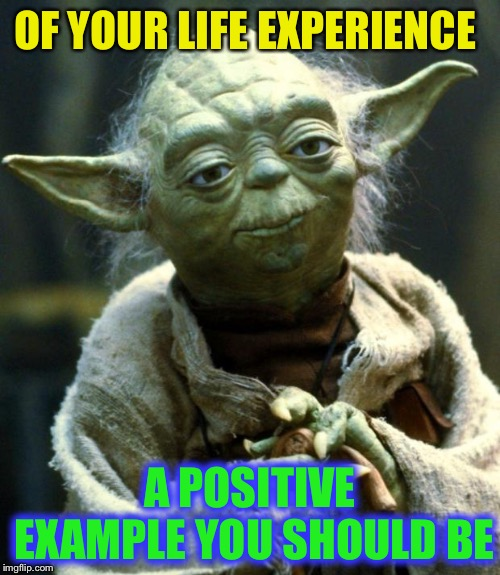 Star Wars Yoda Meme | OF YOUR LIFE EXPERIENCE A POSITIVE EXAMPLE YOU SHOULD BE | image tagged in memes,star wars yoda | made w/ Imgflip meme maker