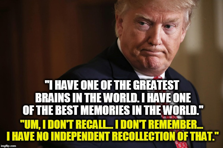 """I HAVE ONE OF THE GREATEST BRAINS IN THE WORLD. I HAVE ONE OF THE BEST MEMORIES IN THE WORLD."" ""UM, I DON'T RECALL... I DON'T REMEMBER... I 