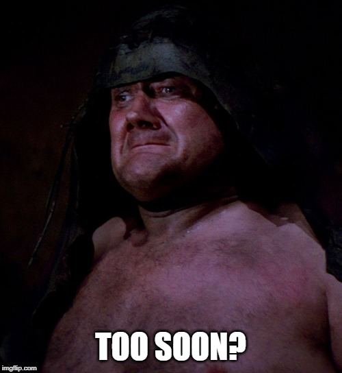 Too soon rancor guy | TOO SOON? | image tagged in too soon rancor guy | made w/ Imgflip meme maker