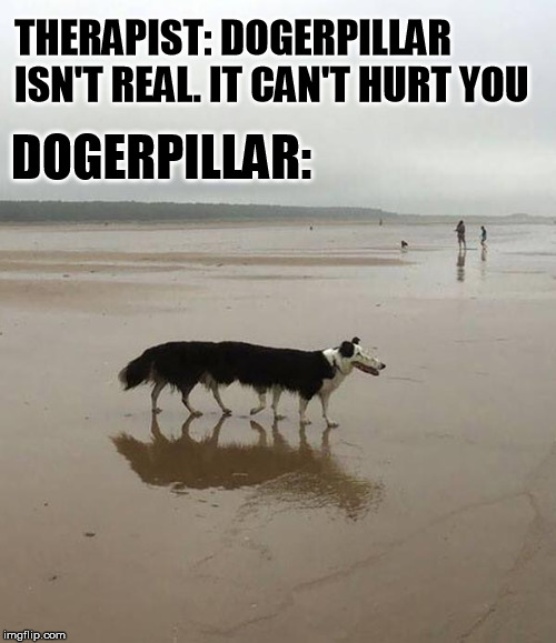 Panorama gone bad | THERAPIST: DOGERPILLAR ISN'T REAL. IT CAN'T HURT YOU DOGERPILLAR: | image tagged in doggo,caterpillar,real,photo | made w/ Imgflip meme maker