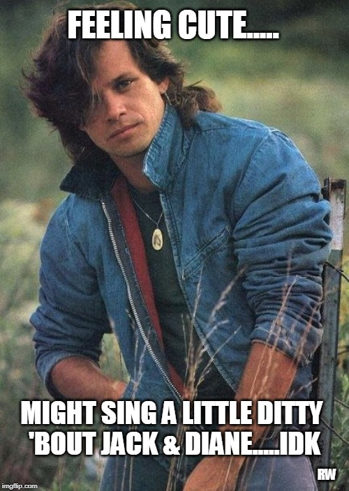 Feeling cute | FEELING CUTE..... MIGHT SING A LITTLE DITTY 'BOUT JACK & DIANE.....IDK RW | image tagged in feeling cute,funny memes | made w/ Imgflip meme maker