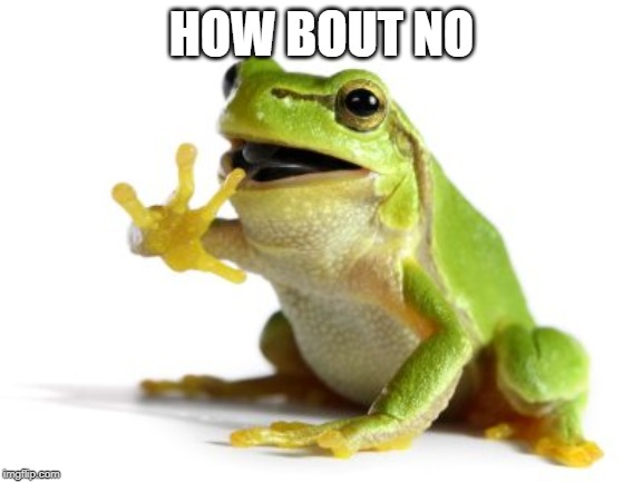 How 'bout no frog | HOW BOUT NO | image tagged in how 'bout no frog | made w/ Imgflip meme maker