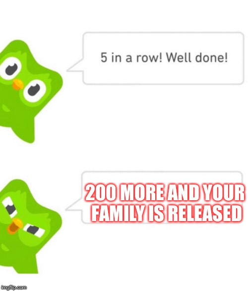 Duolingo meme |  200 MORE AND YOUR FAMILY IS RELEASED | image tagged in duolingo 5 in a row,murder,family,gone,memes,funny memes | made w/ Imgflip meme maker