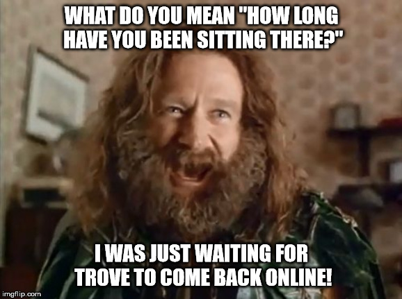 "What Year Is It Meme | WHAT DO YOU MEAN ""HOW LONG HAVE YOU BEEN SITTING THERE?"" I WAS JUST WAITING FOR TROVE TO COME BACK ONLINE! 