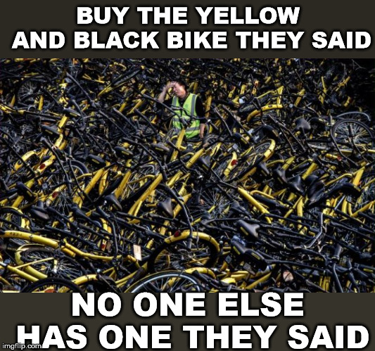 Dude, can't find my bike. | BUY THE YELLOW AND BLACK BIKE THEY SAID NO ONE ELSE HAS ONE THEY SAID | image tagged in funny meme,bikes,find,camouflage,hidden | made w/ Imgflip meme maker