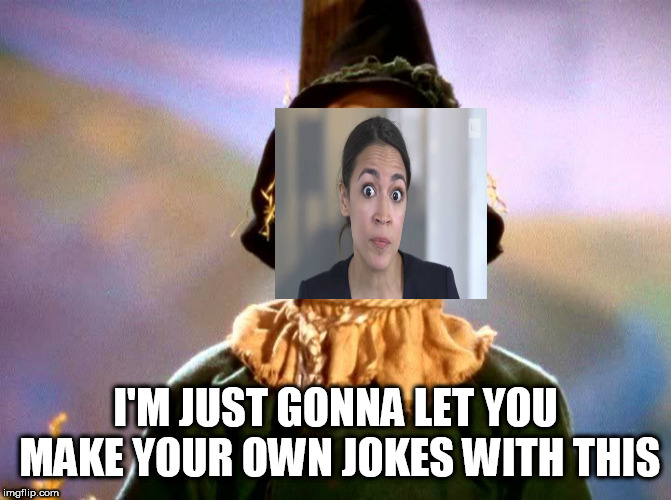 Cue the song? | I'M JUST GONNA LET YOU MAKE YOUR OWN JOKES WITH THIS | image tagged in wizard of oz scarecrow,alexandria ocasio-cortez,stupid liberals | made w/ Imgflip meme maker