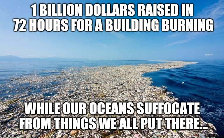 Notre dame | 1 BILLION DOLLARS RAISED IN 72 HOURS FOR A BUILDING BURNING WHILE OUR OCEANS SUFFOCATE FROM THINGS WE ALL PUT THERE... | image tagged in notre dame,ocean,billionaire,priorities | made w/ Imgflip meme maker
