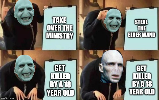 Voldemort's Plan |  TAKE OVER THE MINISTRY; STEAL THE ELDER WAND; GET KILLED BY A 18 YEAR OLD; GET KILLED BY A 18 YEAR OLD | image tagged in gru's plan,lord voldemort,he who must not be named,harry potter | made w/ Imgflip meme maker