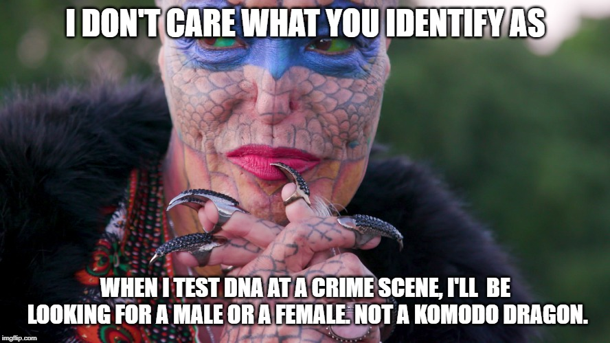 You're either one or the other. Period. | I DON'T CARE WHAT YOU IDENTIFY AS WHEN I TEST DNA AT A CRIME SCENE, I'LL  BE LOOKING FOR A MALE OR A FEMALE. NOT A KOMODO DRAGON. | image tagged in transgender,male,female,meme,funny,dna | made w/ Imgflip meme maker