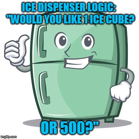 "Icy what you did there... | ICE DISPENSER LOGIC:  ""WOULD YOU LIKE 1 ICE CUBE? OR 500?"" 