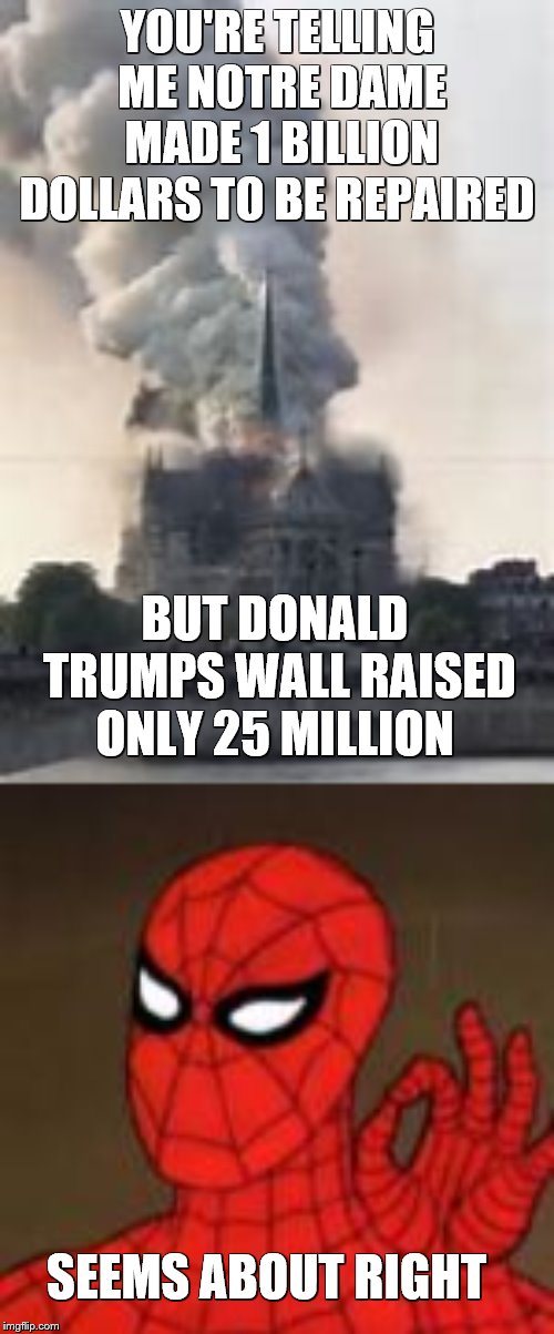 What Raises more money to make sense | YOU'RE TELLING ME NOTRE DAME MADE 1 BILLION DOLLARS TO BE REPAIRED BUT DONALD TRUMPS WALL RAISED ONLY 25 MILLION SEEMS ABOUT RIGHT | image tagged in spiderman,notre dame,donald trump wall,catholic church,donald trump | made w/ Imgflip meme maker
