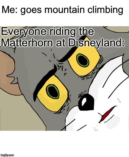 Unsettled Tom | Me: goes mountain climbing Everyone riding the Matterhorn at Disneyland: | image tagged in memes,unsettled tom,disneyland | made w/ Imgflip meme maker