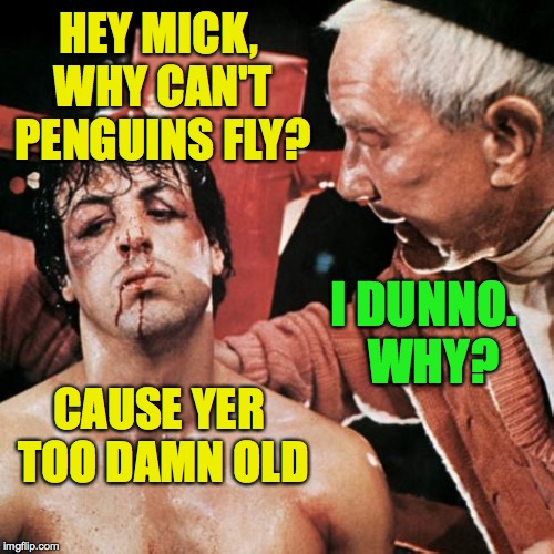 Not gonna fly now.  Maybe later. | HEY MICK, WHY CAN'T PENGUINS FLY? CAUSE YER TOO DAMN OLD I DUNNO.  WHY? | image tagged in memes,rocky,penguin,gonna fly now | made w/ Imgflip meme maker