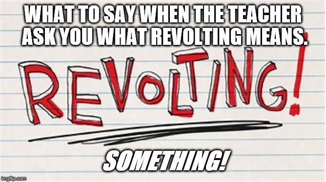 Education Memes | WHAT TO SAY WHEN THE TEACHER ASK YOU WHAT REVOLTING MEANS. SOMETHING! | image tagged in funny memes | made w/ Imgflip meme maker