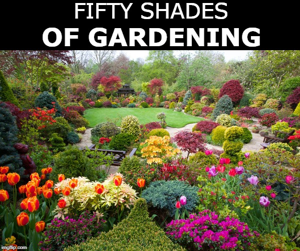 Coming soon to a park/back yard near you | FIFTY SHADES OF GARDENING | image tagged in april,spring,garden | made w/ Imgflip meme maker