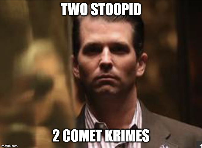 TWO STOOPID 2 COMET KRIMES | image tagged in treasonous donald trump jr | made w/ Imgflip meme maker