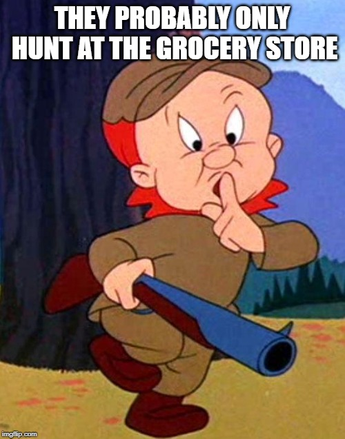 Elmer Fudd | THEY PROBABLY ONLY HUNT AT THE GROCERY STORE | image tagged in elmer fudd | made w/ Imgflip meme maker