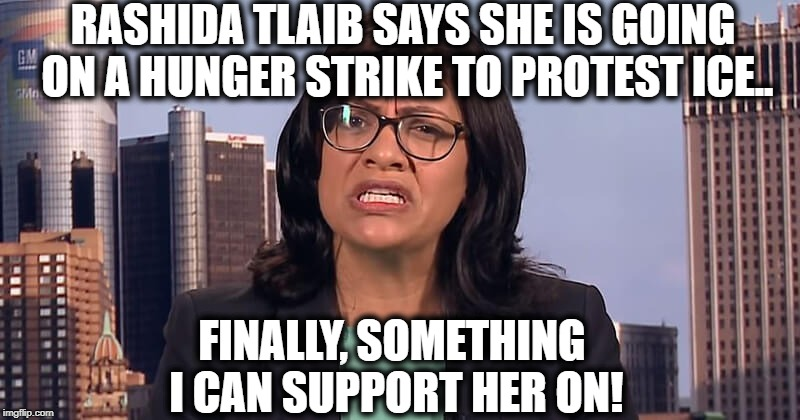 RASHIDA TLAIB SAYS SHE IS GOING ON A HUNGER STRIKE TO PROTEST ICE.. FINALLY, SOMETHING I CAN SUPPORT HER ON! | image tagged in ice,democrat | made w/ Imgflip meme maker