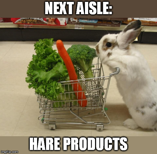 Need a new harecut too               (Pun Weekend - a Triumph_9 and Craziness_all_the_way event) | NEXT AISLE: HARE PRODUCTS | image tagged in pun weekend,triumph_9,craziness_all_the_way,bunny,shopping cart,shopping | made w/ Imgflip meme maker