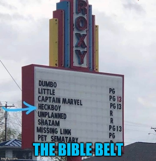 We don't use foul language around here | THE BIBLE BELT | image tagged in hellboy,heckboy,pipe_picasso,cinema,sign,movies | made w/ Imgflip meme maker