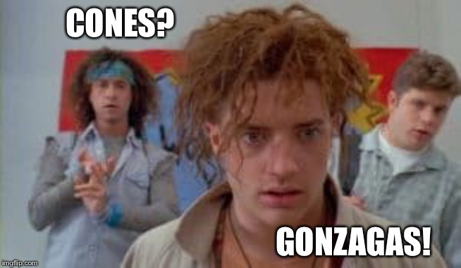 Cones | CONES? GONZAGAS! | image tagged in cones | made w/ Imgflip meme maker